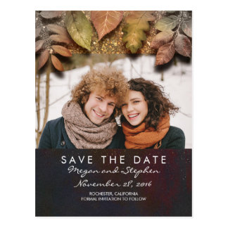 Gold Fall Leaves Photo Save the Date Postcard