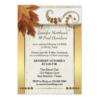 Gold Fall Leaves Post Wedding Party Invitation