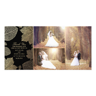 Gold Fall Leaves Wedding Photo Thank You Picture Card