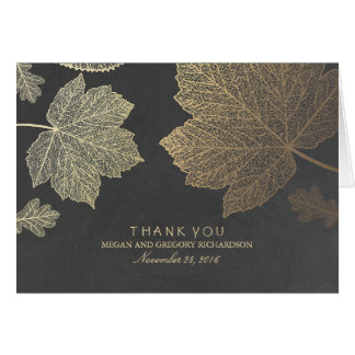 Gold Fall Leaves Wedding Thank You Card