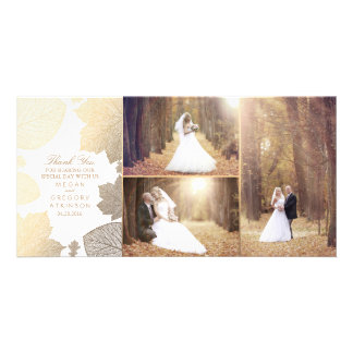 Gold Fall Leaves White Wedding Photo Thank You Card