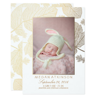 Gold Fall Newborn Baby Photo Birth Announcements