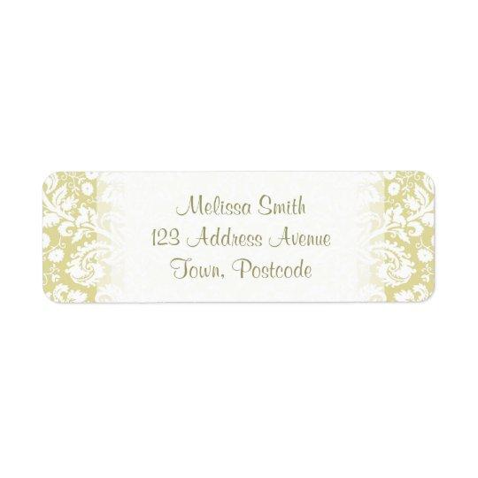 Gold fancy floral damask return address label