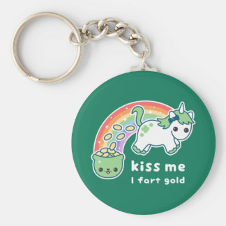 Gold Farting Unicorn Key Ring