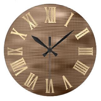 Gold Faux Bronze Stripes  Metallic Roman Numers Large Clock