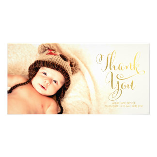 Gold Faux Foil Baby Thank You Overlay Photo Cards