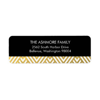 Gold Faux Foil Chevron Address Label