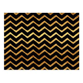 Gold Faux Foil Chevrons Metallic Chevron Pattern Postcard
