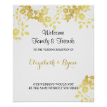 Gold, Faux Foil Roses, Custom Wedding Welcome Poster