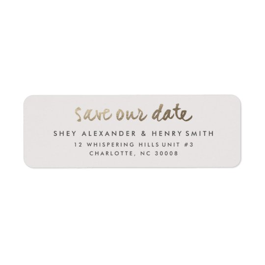 Gold faux foil save the date return address