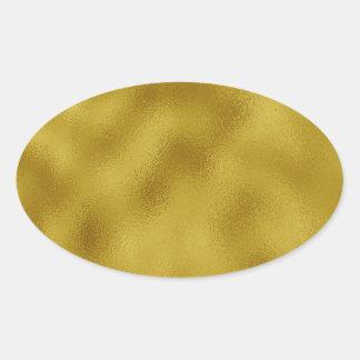 Gold faux foil oval sticker