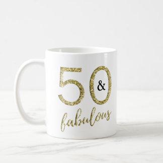 Gold Faux Glitter 50 and Fabulous Coffee Mug