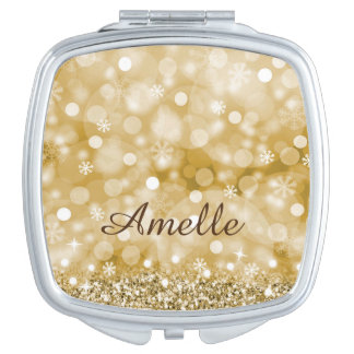 Gold Faux Glitter and Personalised Compact Mirror