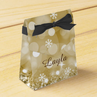 Gold Faux Glitter and Personalised Favour Box