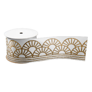 Gold Faux Glitter Art Deco Fan Pattern on White Satin Ribbon