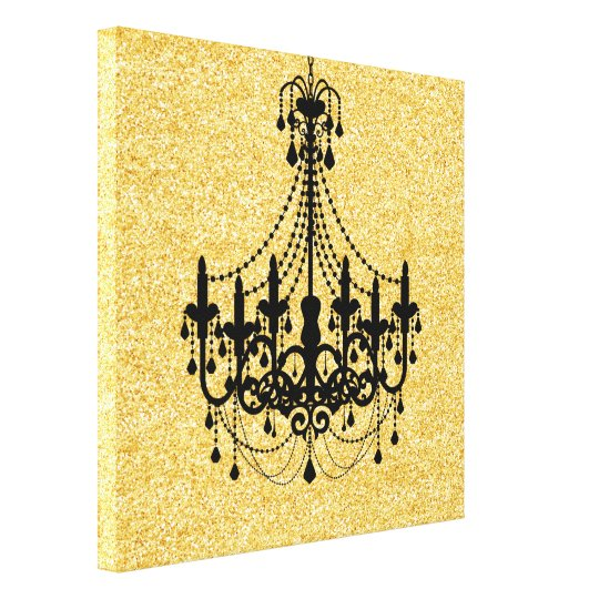 Gold Faux Glitter Black Chandelier Canvas Print