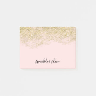 Gold Faux Glitter Blush Pink Sparkle Post-it Notes