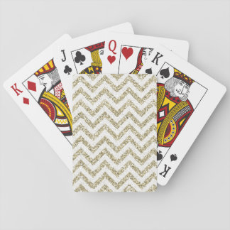 Gold Faux Glitter Chevron Playing Cards