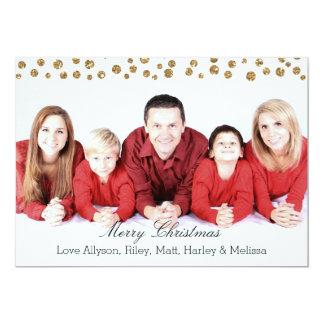 Gold Faux Glitter Confetti Personalised Christmas 13 Cm X 18 Cm Invitation Card