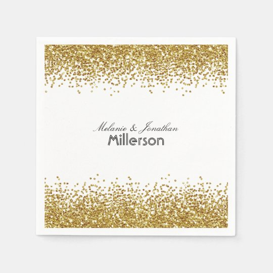 Gold Faux Glitter Disposable Serviette