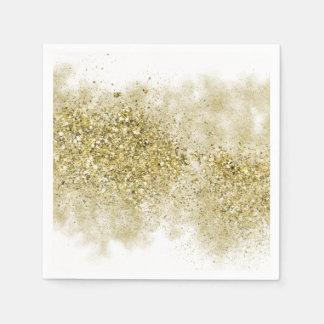 Gold Faux Glitter Disposable Serviettes