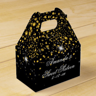Gold, Faux Glitter, Elegant, Sweet Sixteen Favour Box