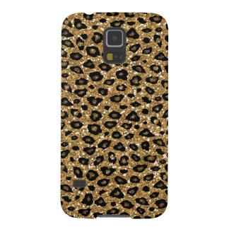 Gold Faux Glitter Leopard Print Monogram Galaxy S5 Case