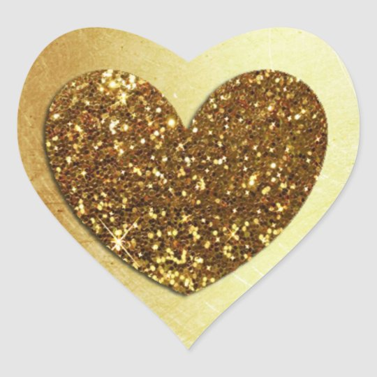 Gold Faux Glitter Modern Heart Shaped Sticker