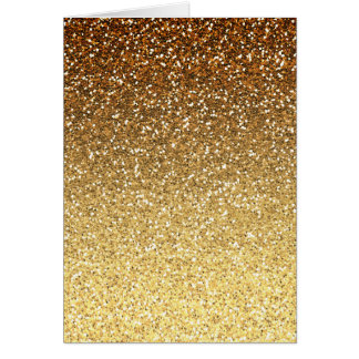 Gold Faux Glitter Ombre Birthday Card