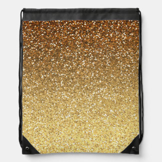 Gold Faux Glitter Ombre Drawstring Bag
