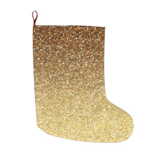 Gold Faux Glitter Ombre Large Christmas Stocking