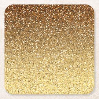 Gold Faux Glitter Ombre Square Paper Coaster