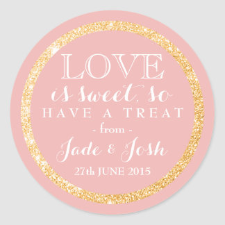 Gold Faux Glitter on ANY COLOR Wedding Favor Label