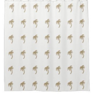 Gold Faux Glitter Palm Trees White Shower Curtain