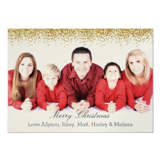 Gold Faux Glitter Personalized Christmas 5x7 Paper Invitation Card