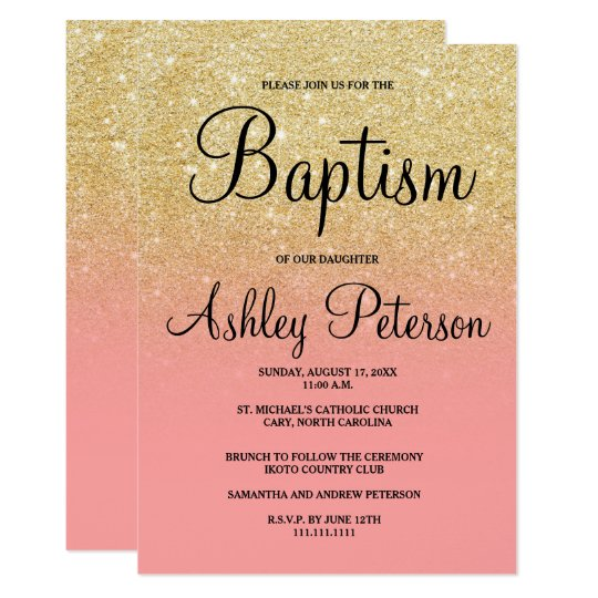 Gold faux glitter pink ombre baptism card