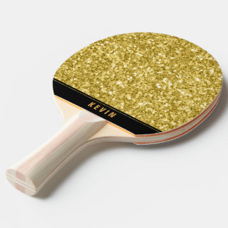 Gold Faux Glitter Print Monogram Ping Pong Paddle