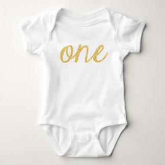 Gold Faux Glitter Script 1st Birthday T-shirt