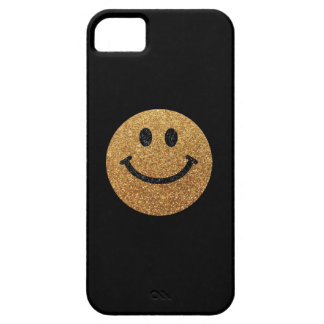 Gold faux glitter smiley face case for the iPhone 5
