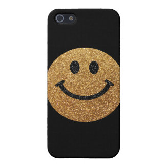 Gold faux glitter smiley face iPhone 5/5S cases