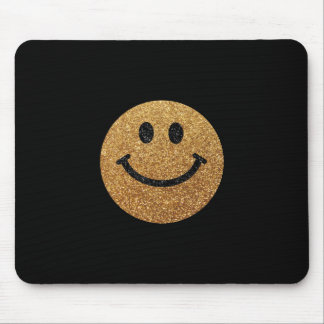 Gold faux glitter smiley face mouse pads