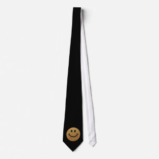 Gold faux glitter smiley face tie