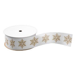 Gold Faux Glitter Snowflakes Grosgrain Ribbon