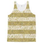 Gold Faux Glitter Stripes All-Over Print Tank Top