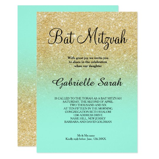 Gold faux glitter turquoise ombre Bat Mitzvah Card