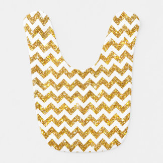 Gold Faux Glitter White Chevron Pattern Girly Bibs