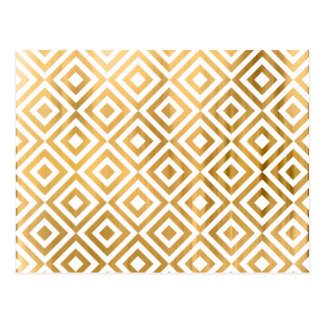 Gold faux leaf modern abstract geometrical pattern postcard