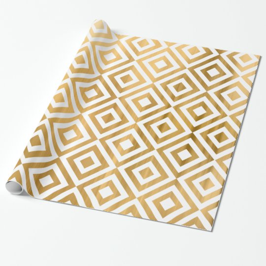 Gold faux leaf modern abstract geometrical pattern wrapping