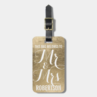 Gold faux leaf pattern personalized mr+and+mrs bag tag
