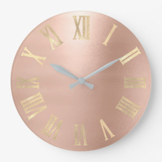 Gold Faux Rose Gold Minimal Metallic Roman Numers Large Clock